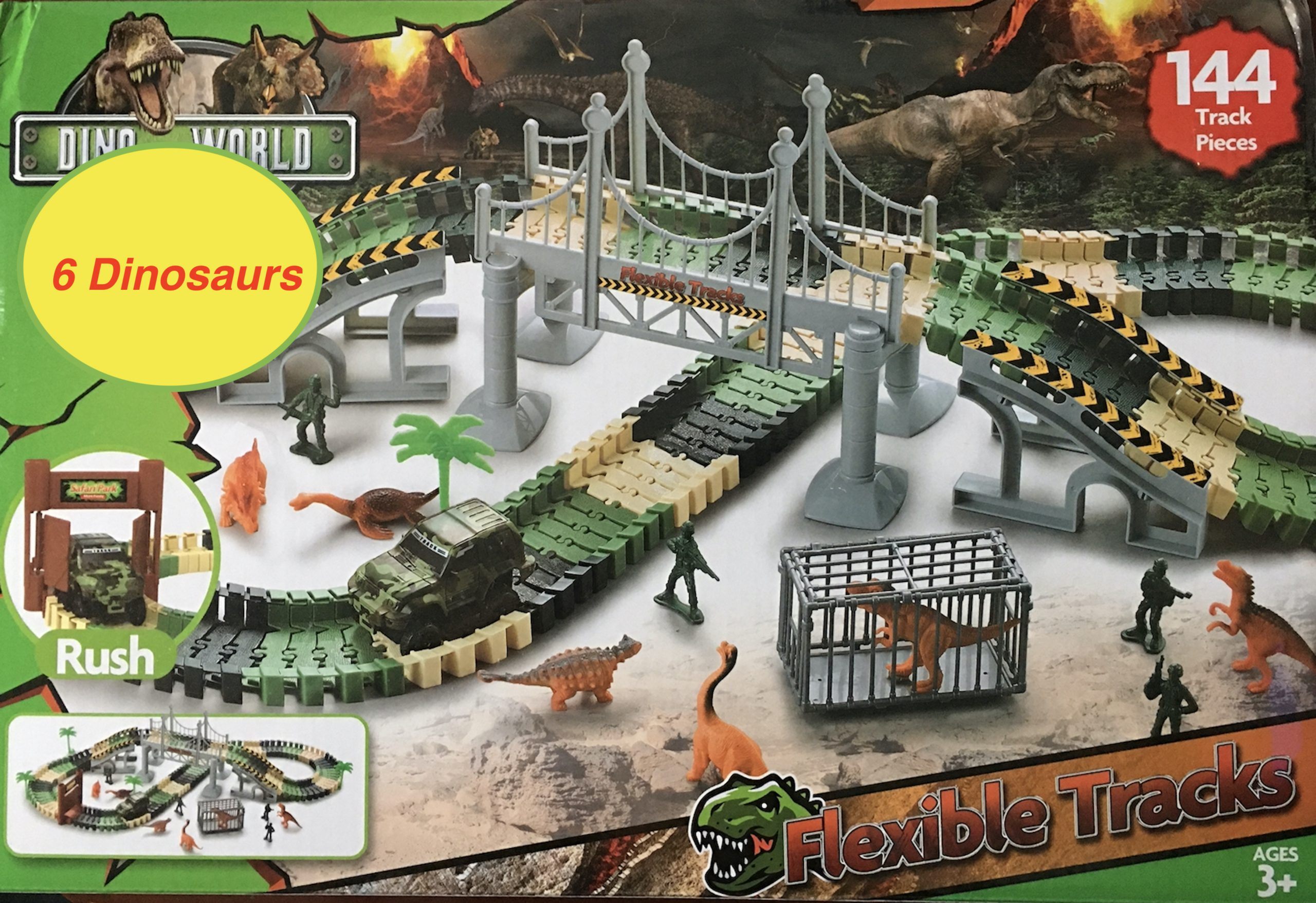 create a dinosaur world road race with a flexible track playset