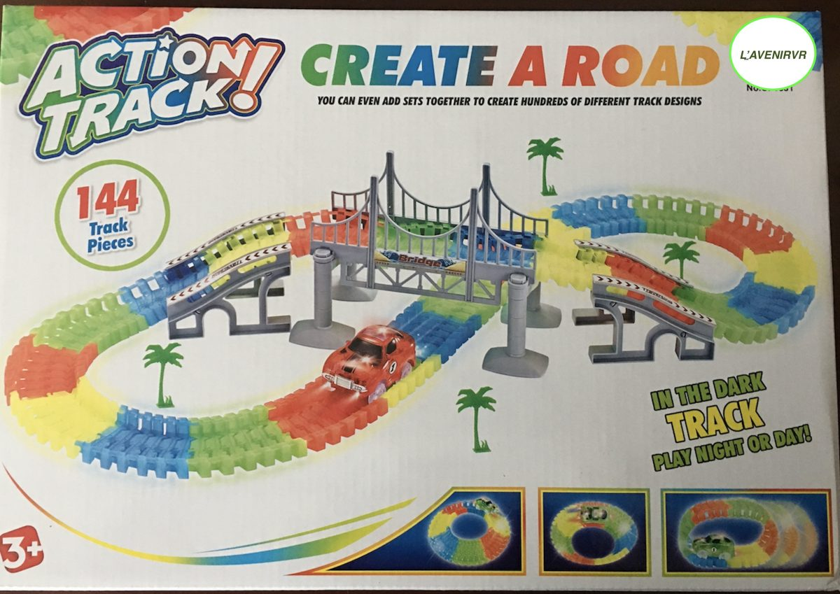 glow in the dark train tracks with cars 144