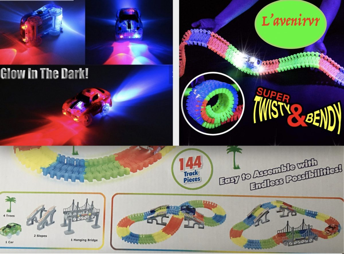 Glow in The Dark Super Twisty and Bendy train tracks, Electric-Bendable