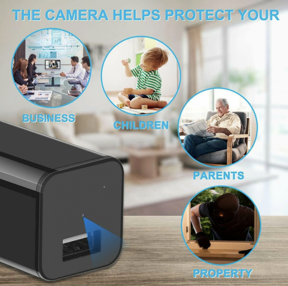 LAVENIR.VR Spy charger Camera is USB Charger Spy Camera – This security camera is a USB charger that charges portable devices with 1080p Full HD video- 90° angles wide.